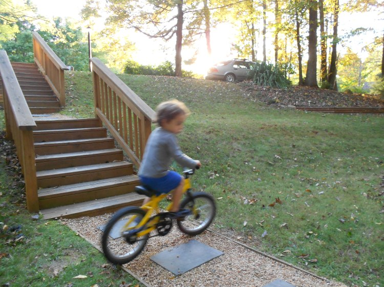 Henry training in our front yard for another epic Biscuit Run ride.