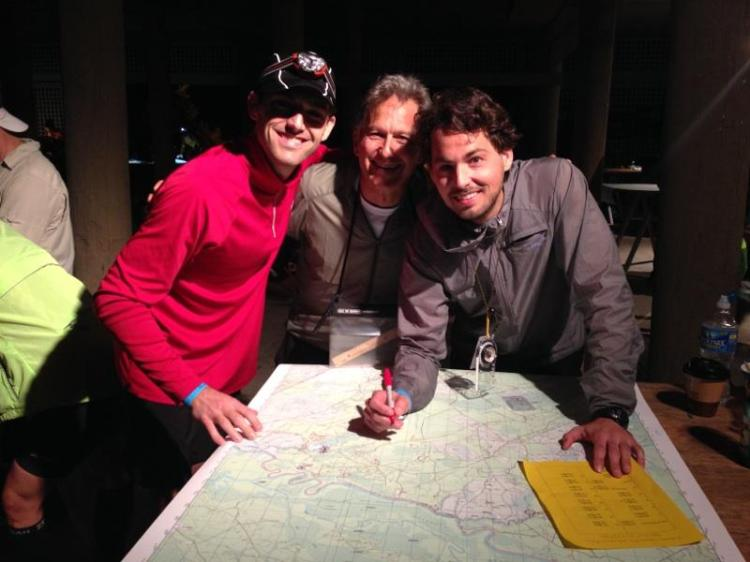 Plotting UTM coordinates pre-race, just before getting dumped in the middle of a swamp with a map and compass.
